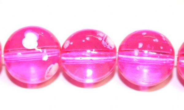 30pieces x 14mm Hot pink colour round shape bubble gum glass beads / speckled glass beads -- 3005133